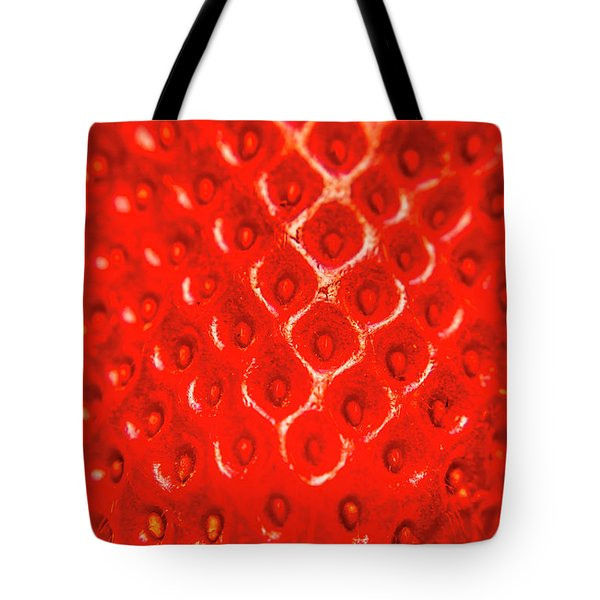 Ripe Red Fresh Strawberry Texture And Detail Tote Bag