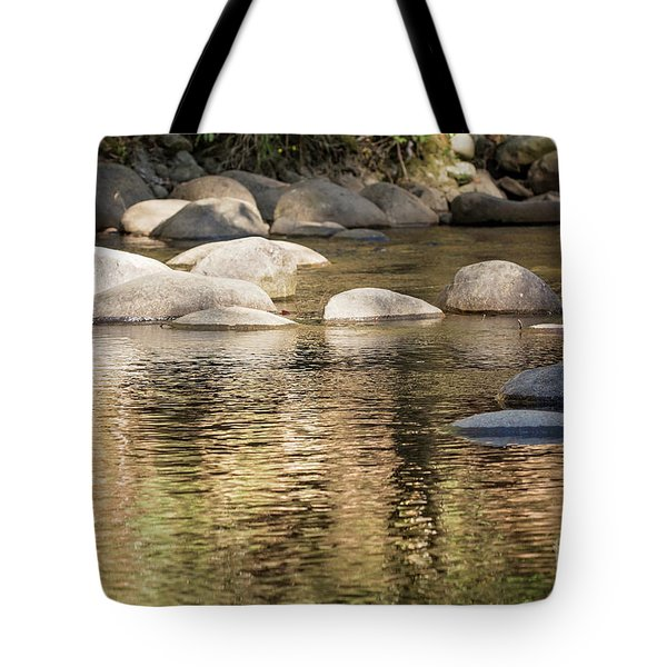 Tote Bag featuring the photograph Ripples And Rocks by Linda Lees