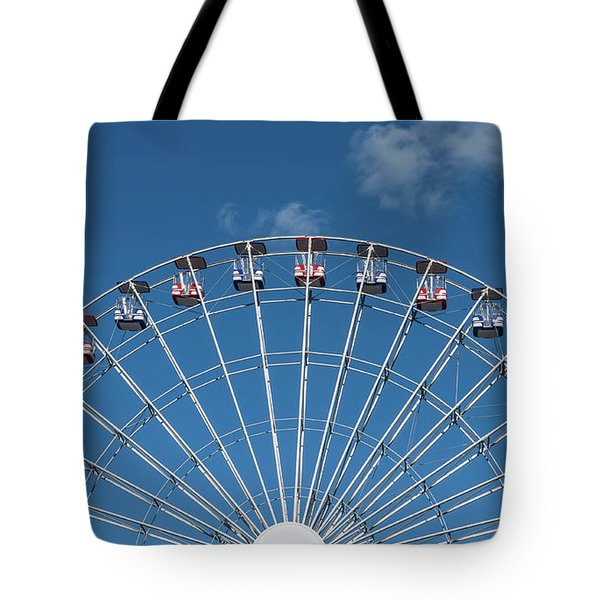 Rise Up Ferris Wheel In The Clouds Seaside Nj Tote Bag by Terry DeLuco