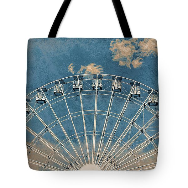Rise Up Ferris Wheel In The Clouds Tote Bag by Terry DeLuco