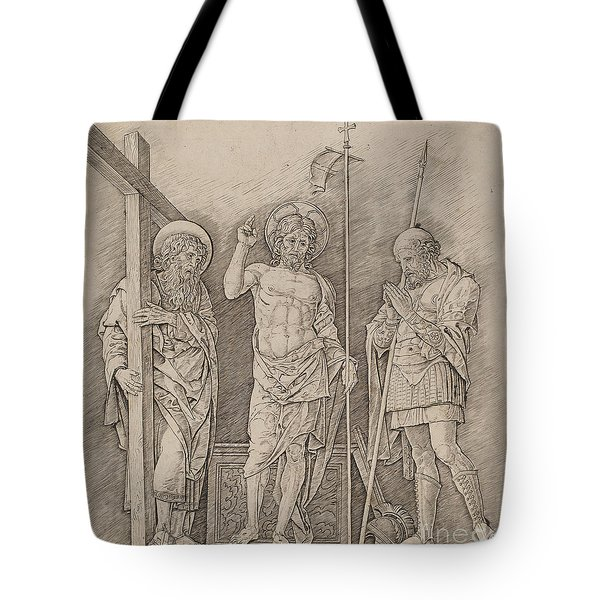 Risen Christ Between Saints Andrew And Longinus Tote Bag