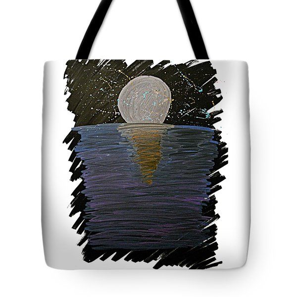 Tote Bag featuring the drawing Rising Moon by Bee-Bee Deigner