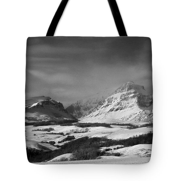 Rising Wolf Mountain- Winter - Black And White Tote Bag