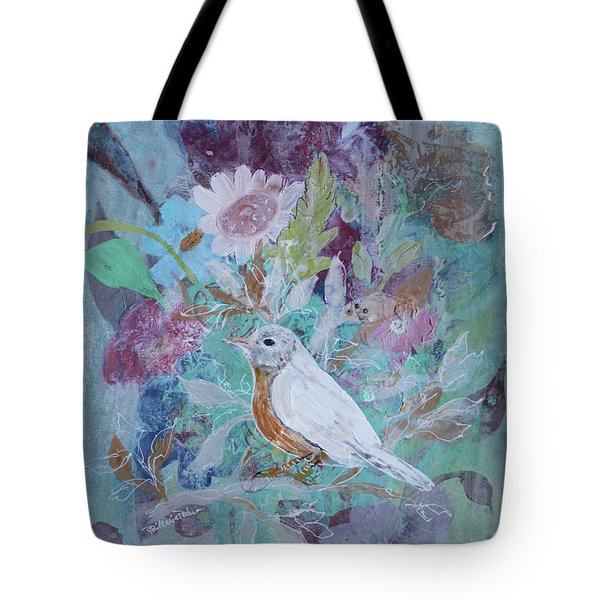 Tote Bag featuring the painting Risky Robin by Robin Maria Pedrero