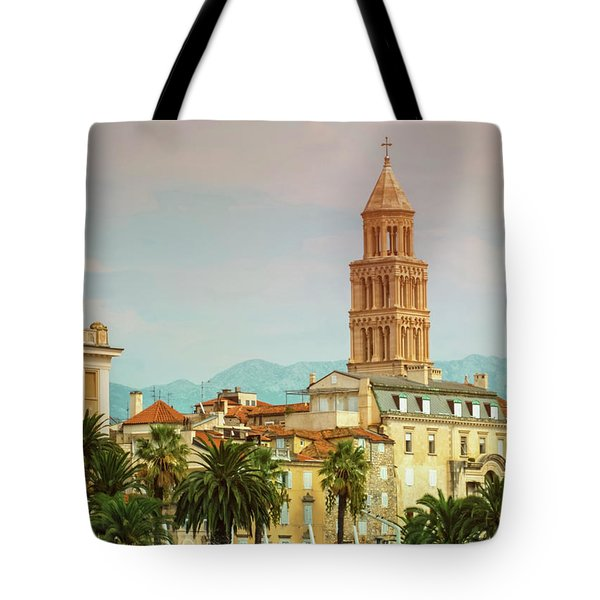 Riva Waterfront, Houses And Cathedral Of Saint Domnius, Dujam, D Tote Bag by Elenarts - Elena Duvernay photo