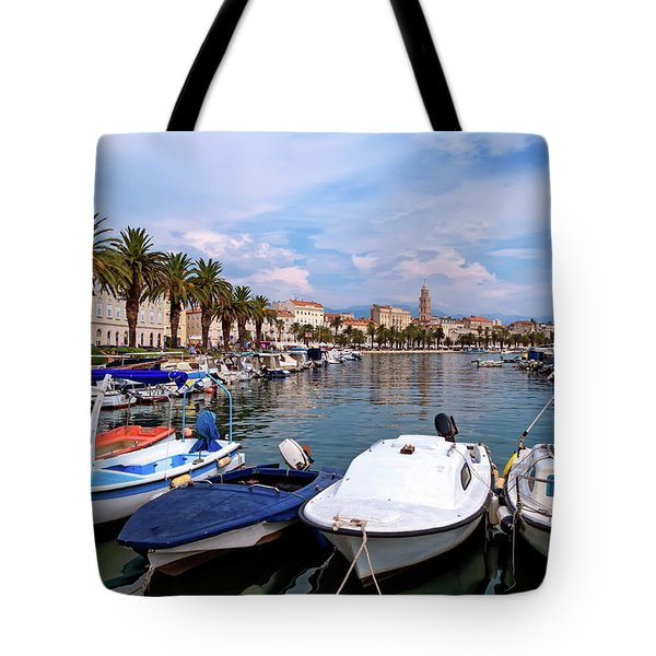 Riva Waterfront, Houses And Cathedral Of Saint Domnius, Dujam, Duje, Bell Tower Old Town, Split, Croatia Tote Bag by Elenarts - Elena Duvernay photo