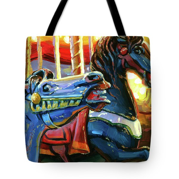 Tote Bag featuring the painting Rivalry by Lesley Spanos
