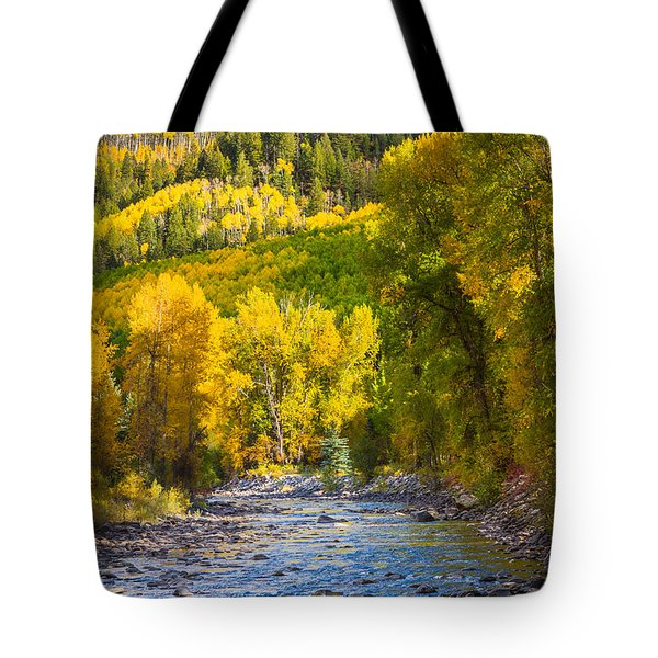 River And Aspens Tote Bag by Inge Johnsson