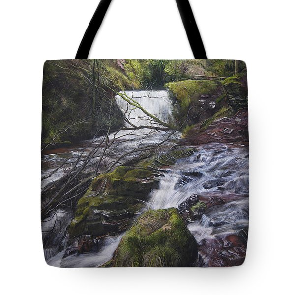 River At Talybont On Usk In The Brecon Beacons Tote Bag by Harry Robertson