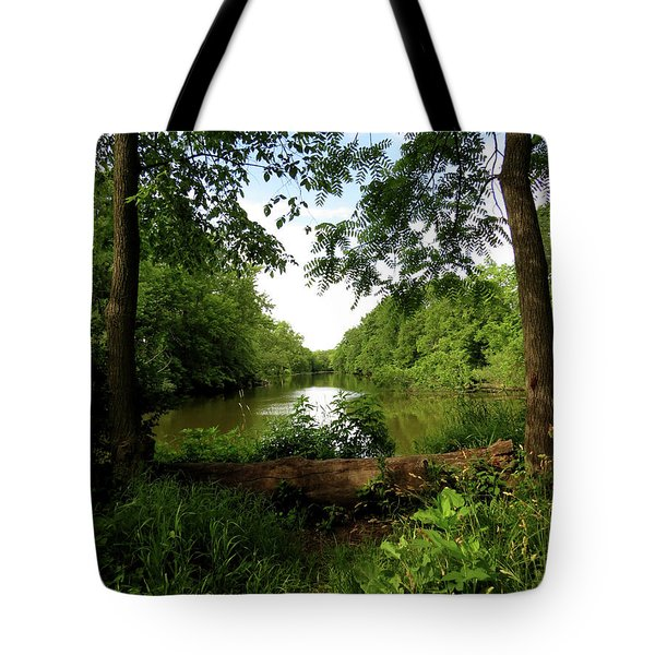 Tote Bag featuring the photograph River Bend Seating by Kimberly Mackowski