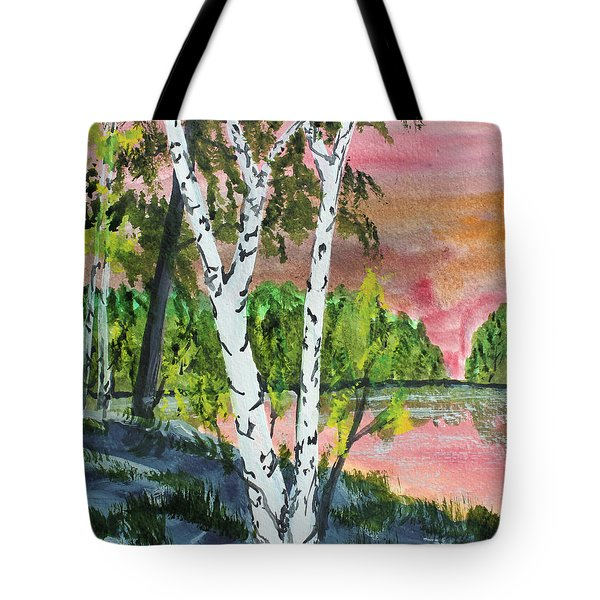 Tote Bag featuring the painting River Birch by Jack G  Brauer
