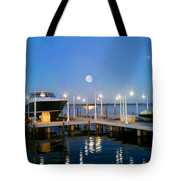 River Boat Dock Tote Bag by Michael Rucker