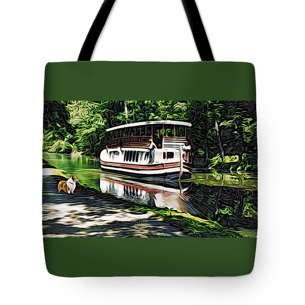 Tote Bag featuring the digital art River Boat With Welsh Corgi by Kathy Kelly