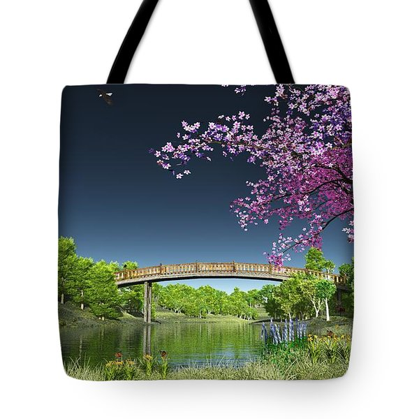 Tote Bag featuring the digital art River Bridge Cherry Tree Blosson by Walter Colvin