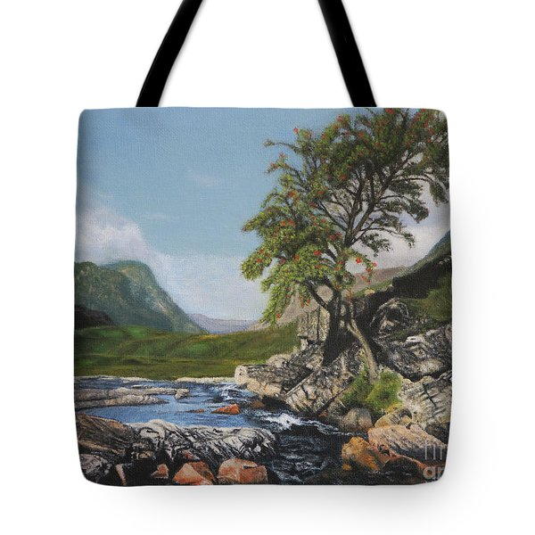 River Coe Scotland Oil On Canvas Tote Bag