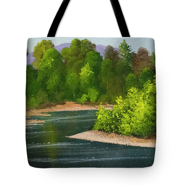 Tote Bag featuring the painting River Confluence by Frank Wilson