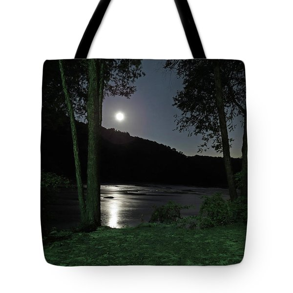 Tote Bag featuring the digital art River In Moonlight by Kathleen Illes
