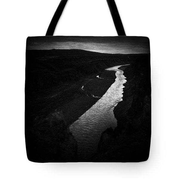River In The Dark In Iceland Tote Bag
