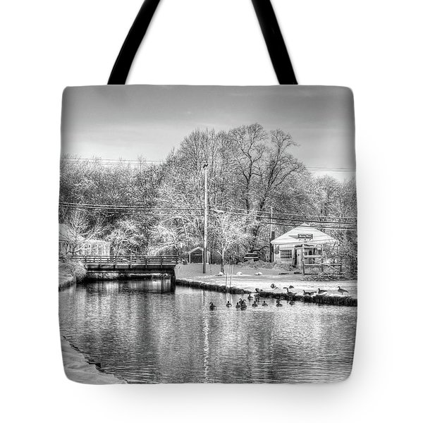 River In The Snow Tote Bag