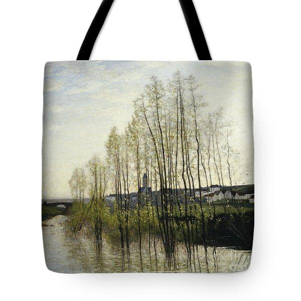 River Landscape, Champagne, 1876 Tote Bag