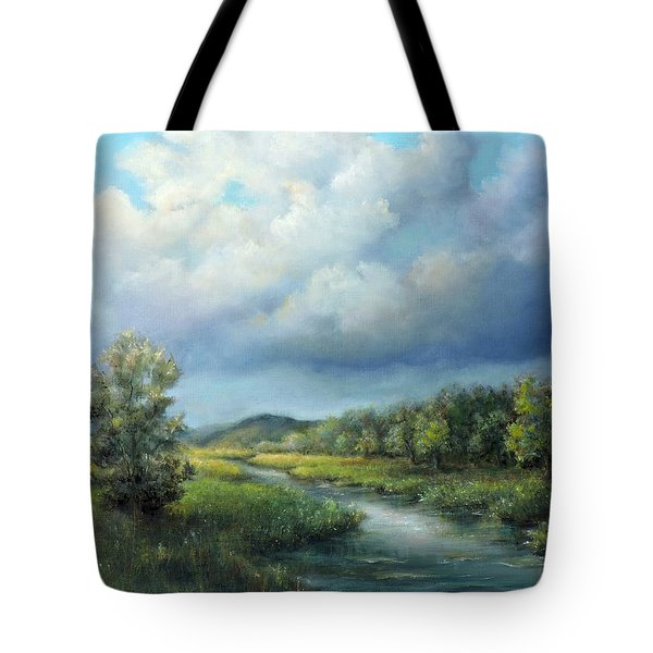 River Landscape Spring After The Rain Tote Bag