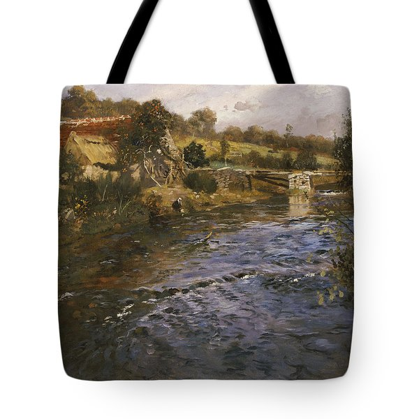 River Landscape With A Washerwoman  Tote Bag by Fritz Thaulow
