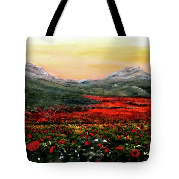River Of Poppies Tote Bag by Judy Kirouac