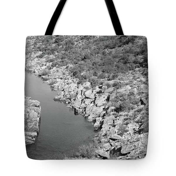 River On The Rocks. Bw Version Tote Bag