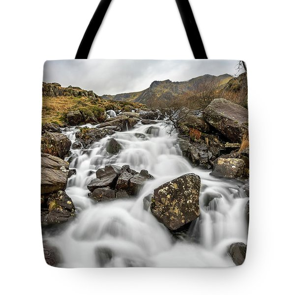 River Rapids Snowdonia Tote Bag by Adrian Evans