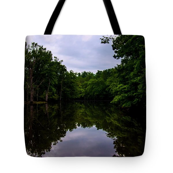 Tote Bag featuring the digital art River Reflections by Chris Flees
