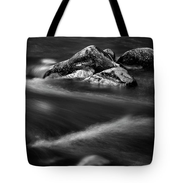 River Rock In Black And White Tote Bag