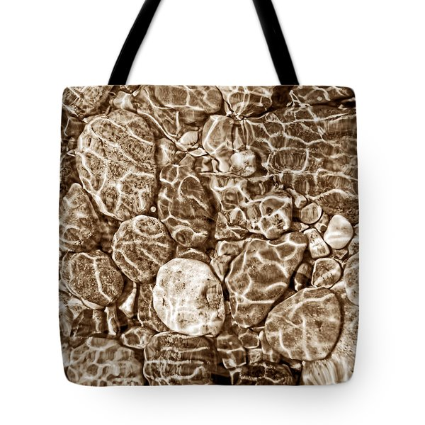 River Rocks In Stream Bed Sepia Tote Bag by Jennie Marie Schell