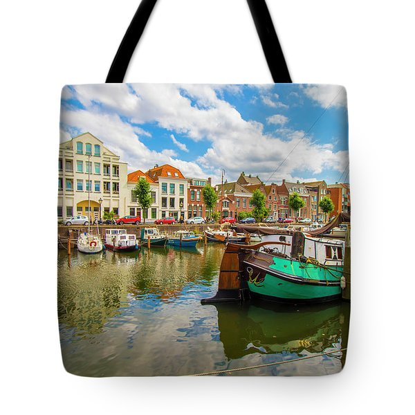 River Scene In Rotterdam Tote Bag