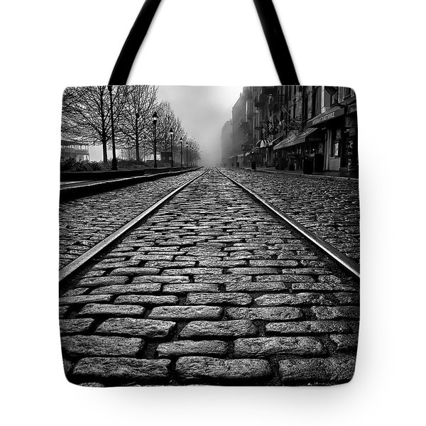 River Street Railway - Black And White Tote Bag