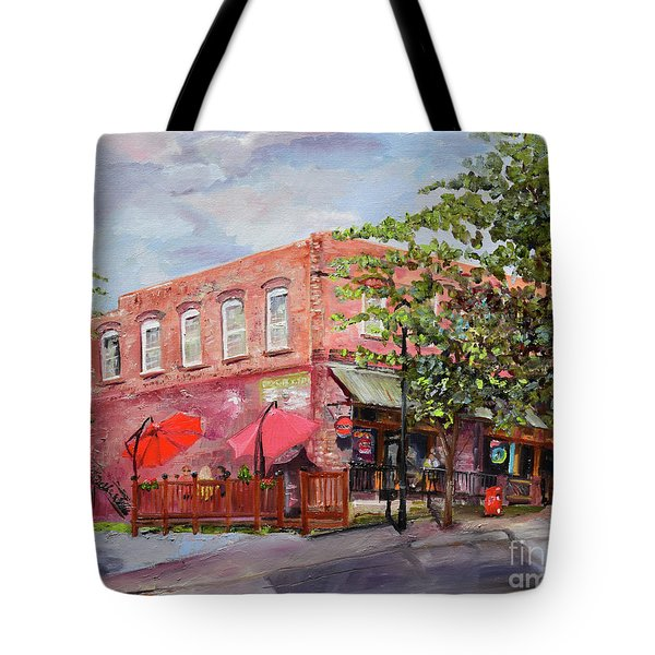 Tote Bag featuring the painting River Street Tavern-ellijay, Ga - Cheers by Jan Dappen