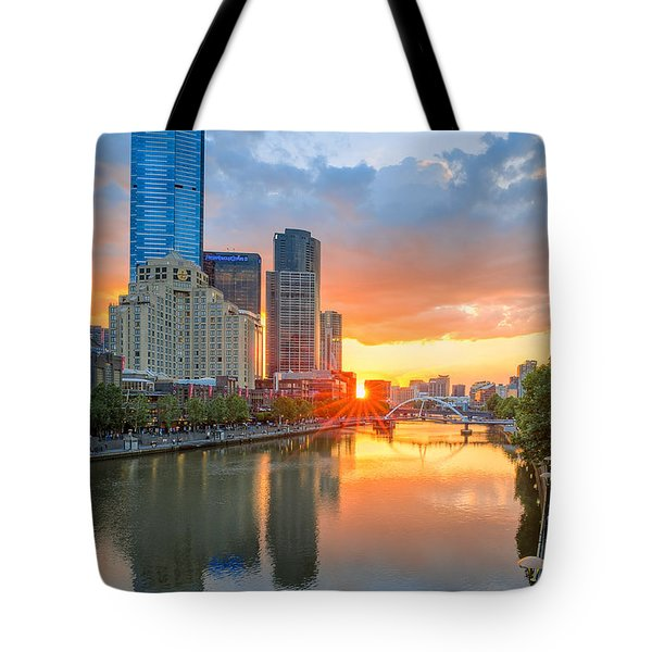 Tote Bag featuring the photograph River Sunset by Ray Warren