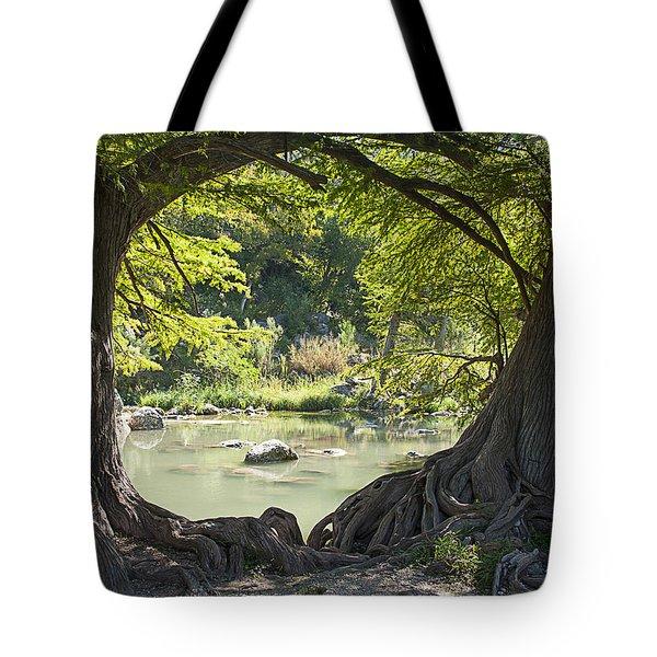 River Through Trees Tote Bag