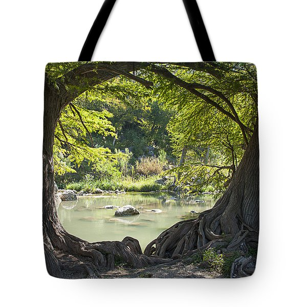 River Through Trees Tote Bag