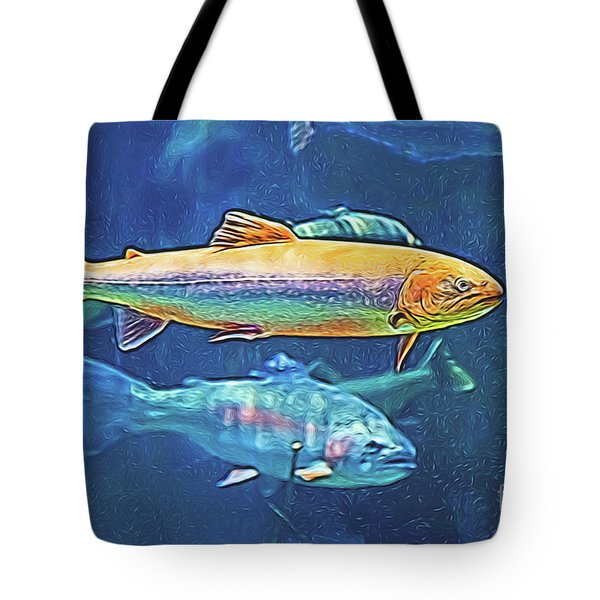 Tote Bag featuring the digital art River Trout by Ray Shiu