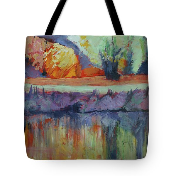 Tote Bag featuring the painting River Tweed by Jillian Goldberg