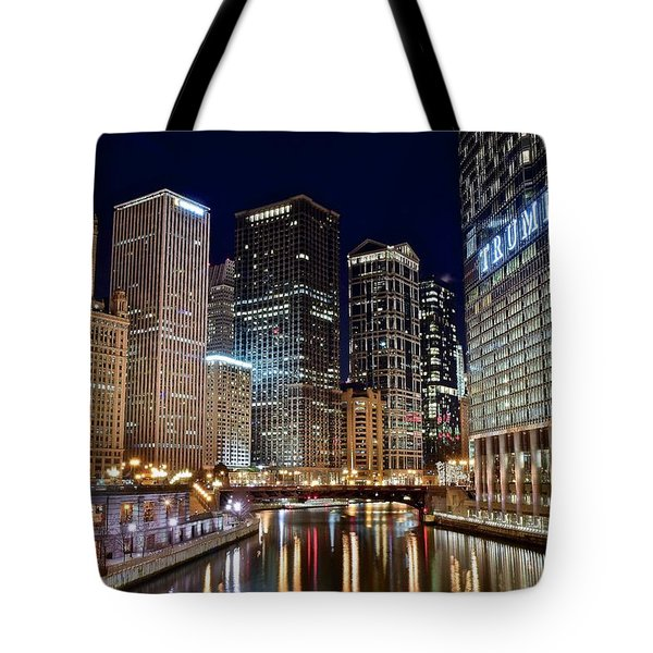 River View Of The Windy City Tote Bag by Frozen in Time Fine Art Photography