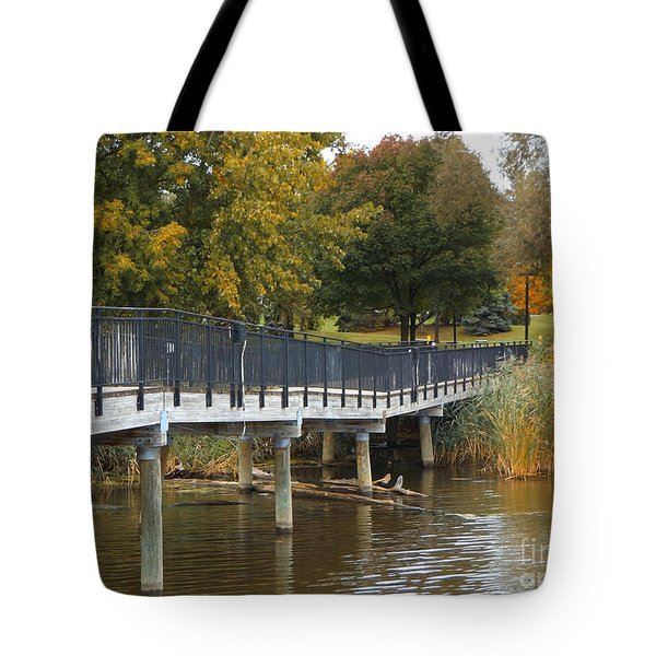 River Walk In The Fall Tote Bag by Erick Schmidt