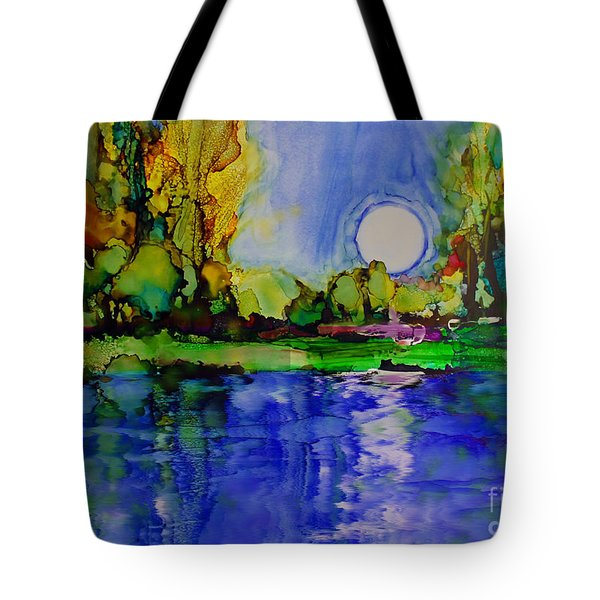 Tote Bag featuring the painting River Walk by Priti Lathia