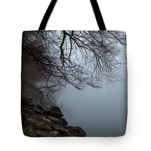 Riverbank In The Fog Tote Bag
