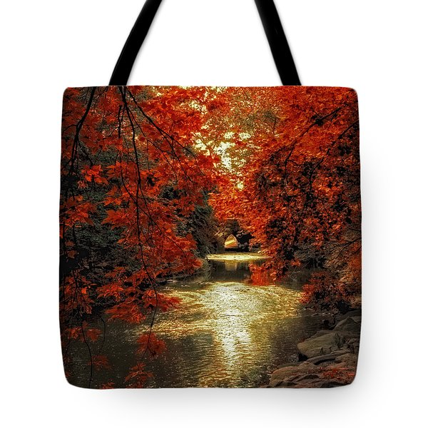 Riverbank Red Tote Bag