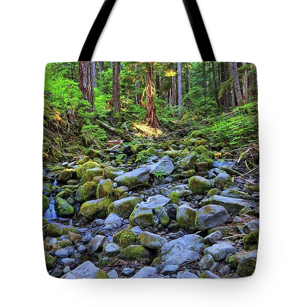 Riverbed Full Of Mossy Stones With Small Cascade Tote Bag