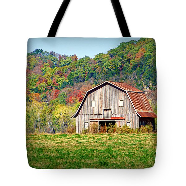 Riverbottom Barn In Fall Tote Bag by Cricket Hackmann