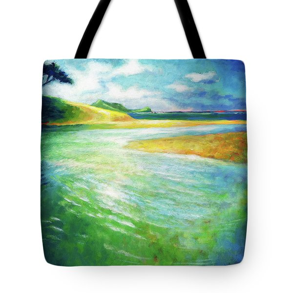 Tote Bag featuring the painting Rivermouth by Angela Treat Lyon