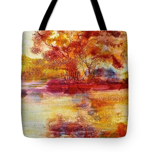 Riverscape In Red Tote Bag