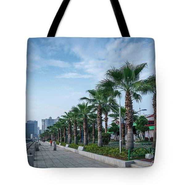 Riverside Promenade Park And Skyscrapers In Downtown Xiamen City Tote Bag